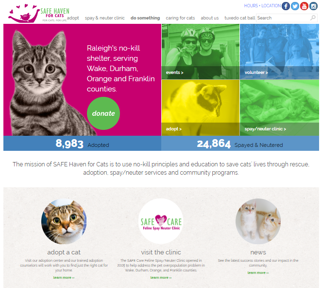 Website for Safe Haven Cats