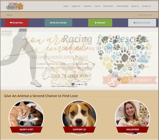 Website for Second Chance Pet Adoption
