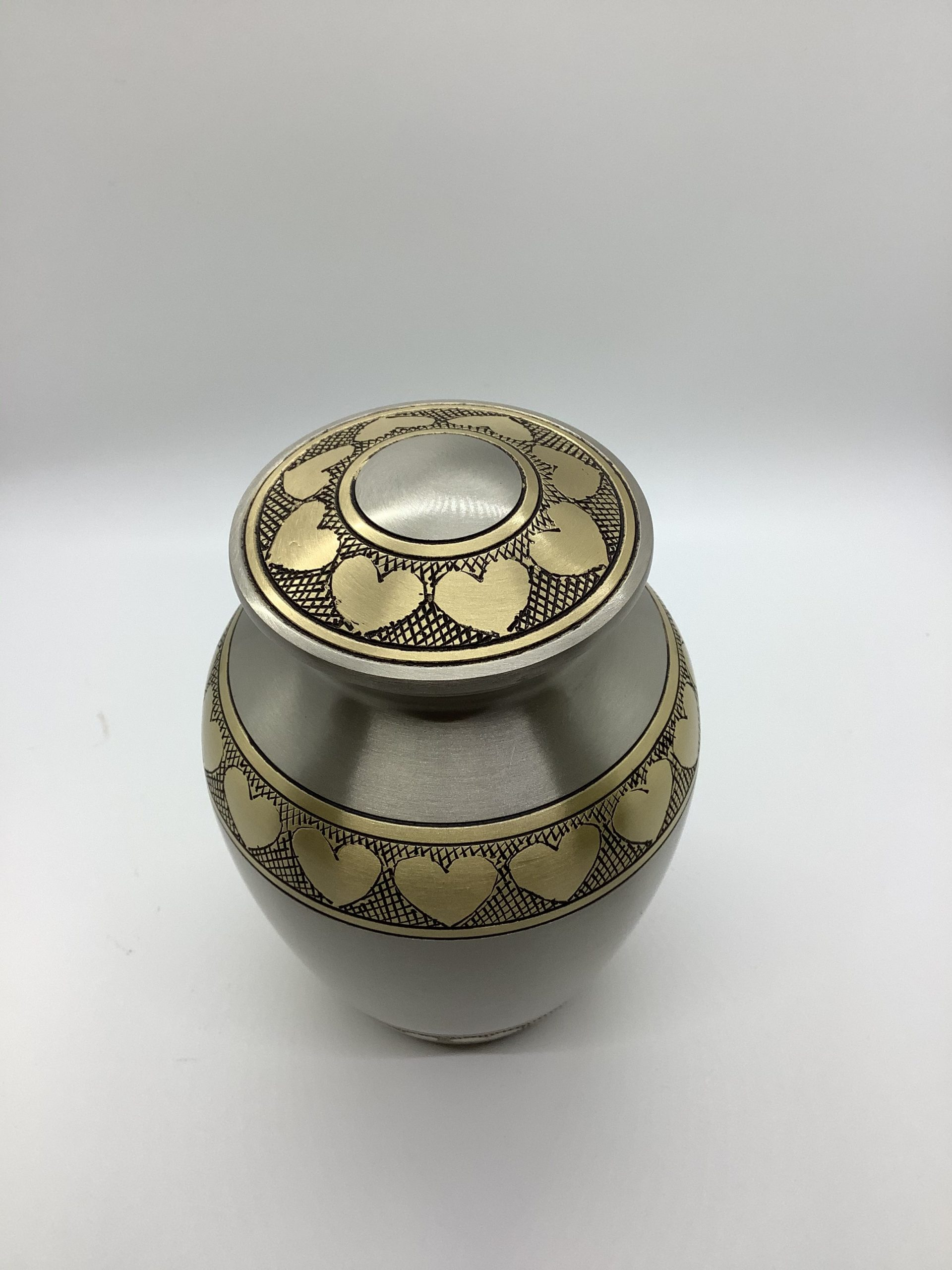 Brass Urn with Gold Hearts