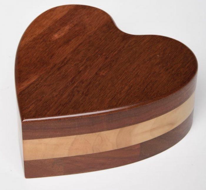 Acacia Wood Heart Urn